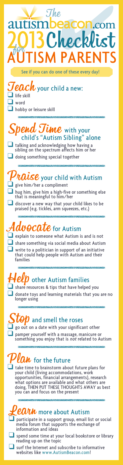 2013 New Years Resolution Checklist For Autism Parents - Photo